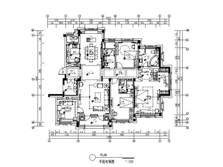 [大连]海派美式卡地亚风样板间设计施工图(含效果图)