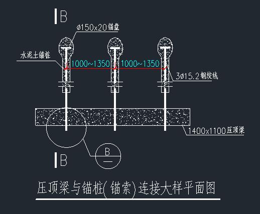 腰梁、压顶梁与锚桩(锚索)连接大样平面图