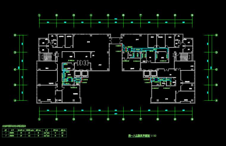 九层办公楼变容量多联中央空调系统暖通图