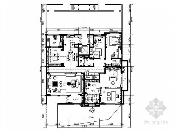 [山东]高贵典雅清新风格别墅样板间室内装修施工图(含实景图)