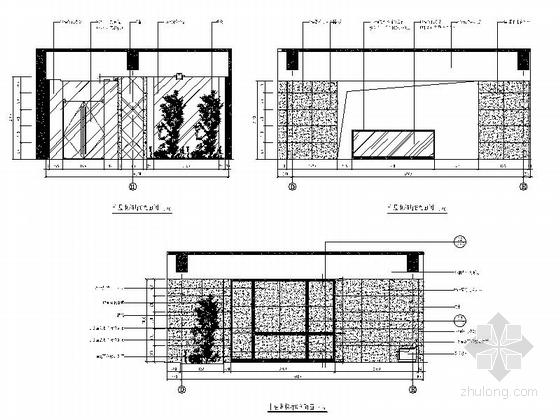 [南京]国家旅游景区现代科技活动中心室内装修施工图(含效果)电梯厅立面图