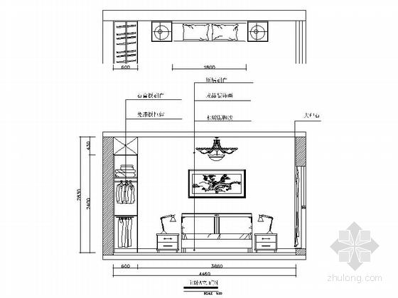 [常德]花园洋房现代简约两居室设计装修图(含效果)主卧立面图