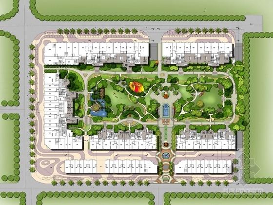 [广东]欧洲异域风情园林高贵典雅的现代型居住小区设计方案(图纸精美)