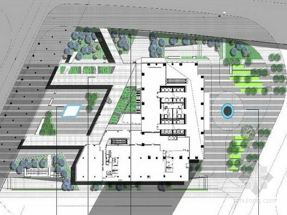 [福州]公司大楼附属休闲绿化景观设计方案(知名设计公司双语)