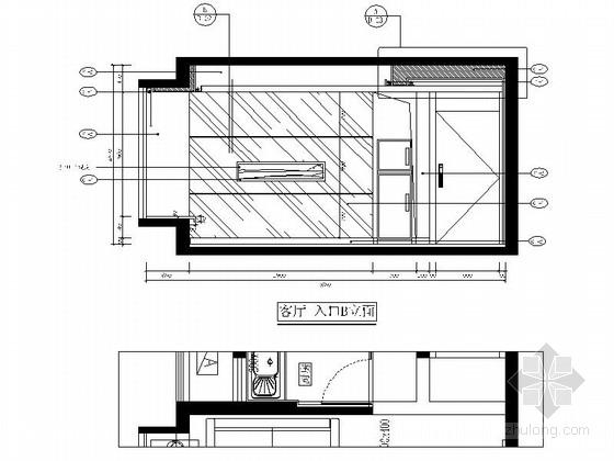自然现代风格两居室样板房装修图(含效果)客厅立面图