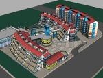 现代风格小学建筑设计SU模型
