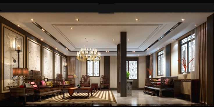 某中式二层别墅室内设计施工图(含效果图,施工图JPG)-客厅效果图