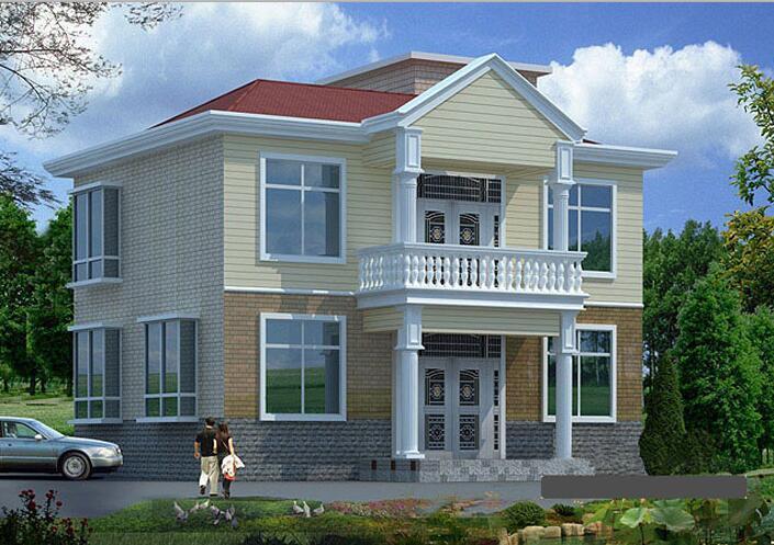 二层独栋别墅,砖混结构简洁大方,色彩清新淡雅别墅设计文本