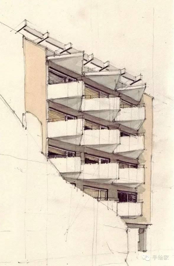 百年经典建筑设计手绘图_39