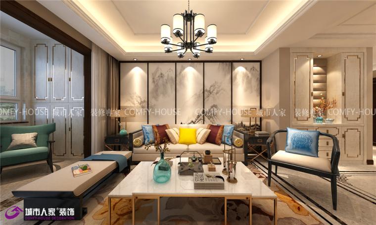 中垠雅苑装修三居室现代中式效果图