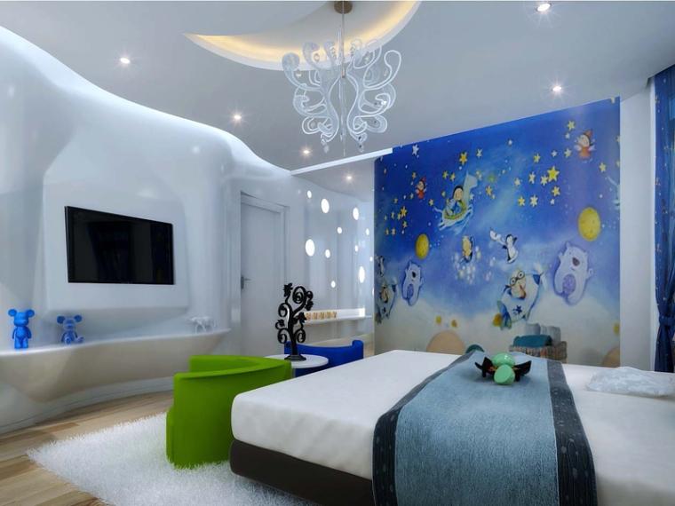 清新儿童卧室3D模型下载