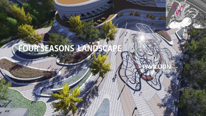 [浙江]现代轻奢简约风格住宅展示区景观设计方案