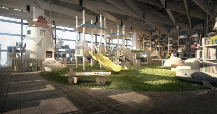 大型儿童主题图书馆室内3D模型