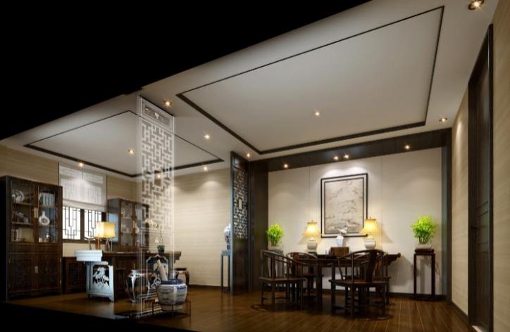 某中式二层别墅室内设计施工图(含效果图,施工图JPG)-主人房前厅