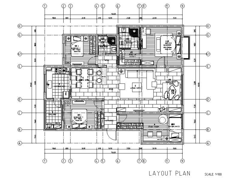 木质简约风三居室住宅设计施工图(附效果图)