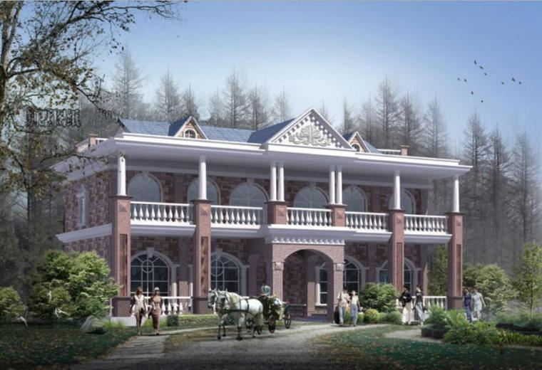 俄罗斯风格2层独栋别墅设计50张PDF+CAD