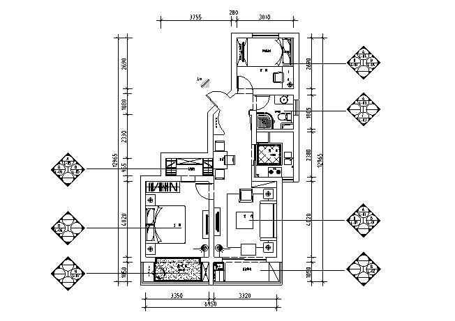 [上海]后现代主义90平米住宅设计施工图(附效果图)