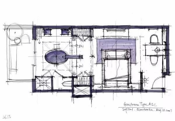 室内设计|手绘酒店客房设计!