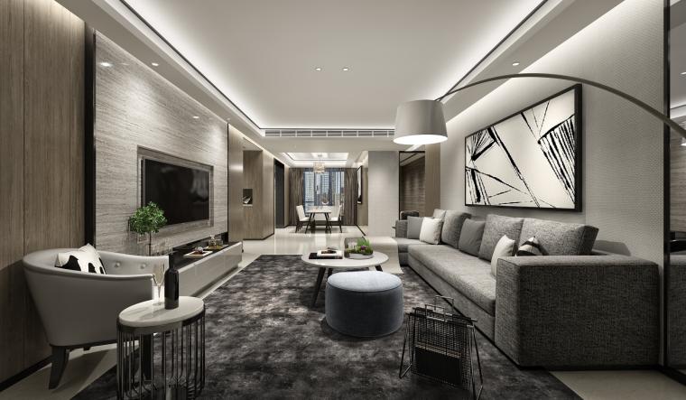 黑色质感住宅客餐厅设计3D模型(附效果图)