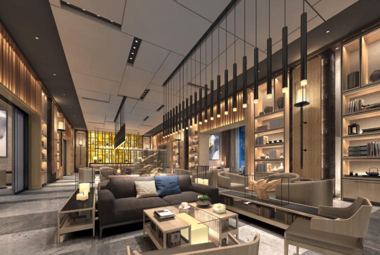 [重庆]现代风格售楼处概念方案设计施工图(附效果图+物料表)-售楼处效果图