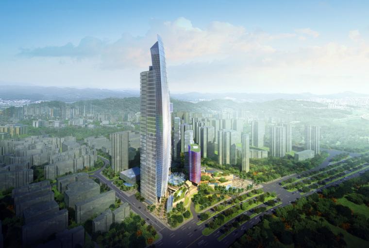 [深圳]超高层曲面像素元素商业及办公楼建筑设计方案文本