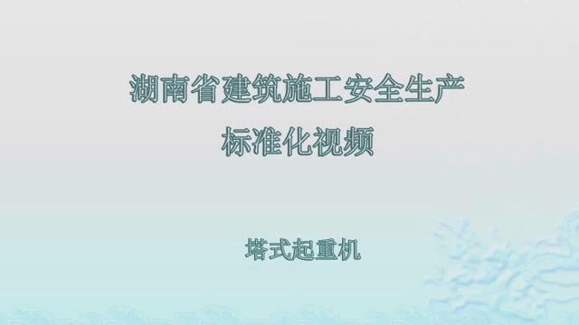 湖南省建筑施工安全生产标准化系列视频—塔式起重机_1