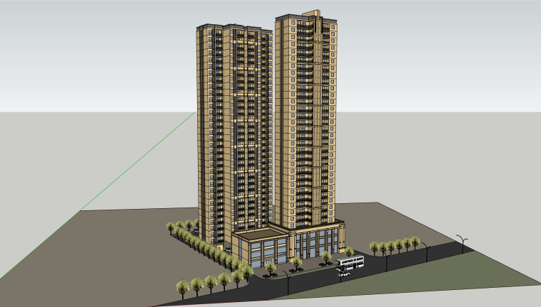 黄冈高层小区建筑模型