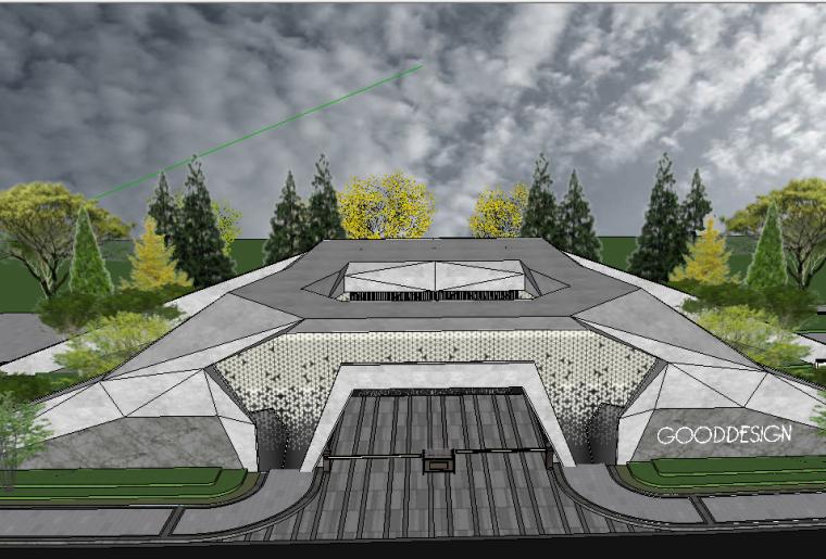 美术馆设计模型资料下载-艺术展馆美术馆居住区入口门楼设计模型