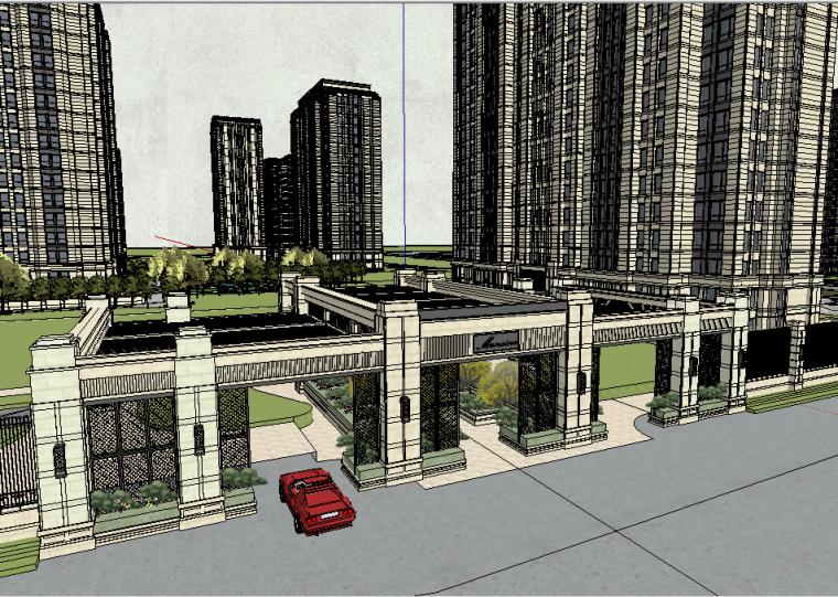 某中式风格居住区景观SU模型设计