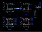 经典四角木亭子CAD施工详图源文件