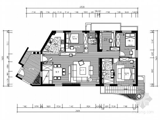 [厦门]城市花园小区A户型现代简约四居室样板间设计装修图