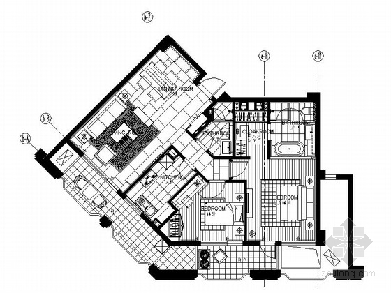 [浙江]酒店式公寓两居室样板房装修施工图