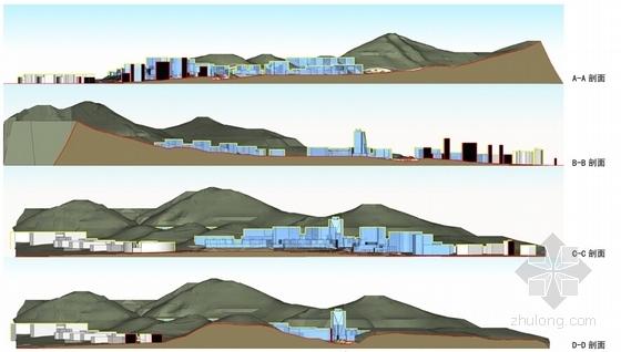 [辽宁]现代风格软件园区规划设计方案文本(含2个方案)-现代风格软件园区规划设计方案效剖面图