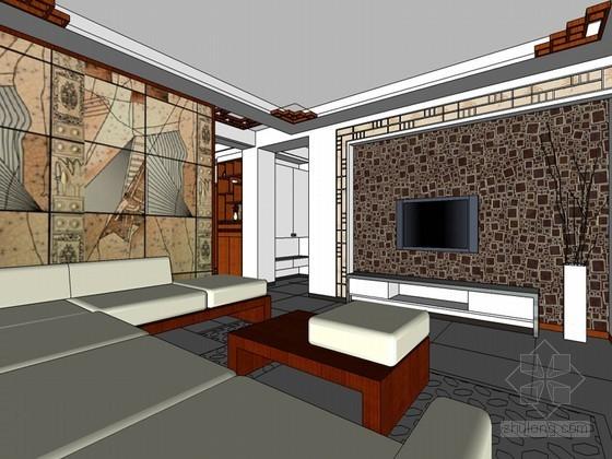 现代中式客厅SketchUp模型下载