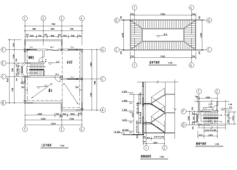 半框架半砖混结构独栋别墅建筑施工图设计-三层平面图