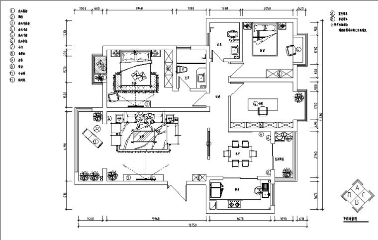 [河南]洛阳130平米中式风格样板房设计施工图(附效果图)