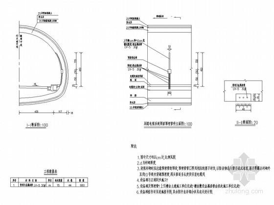 隧道闭路电视系统预留预埋管件设计图