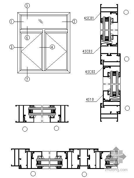 山东某门窗厂窗型图纸(45C系列平开窗)
