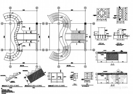 某钢结构双螺旋楼梯节点详图