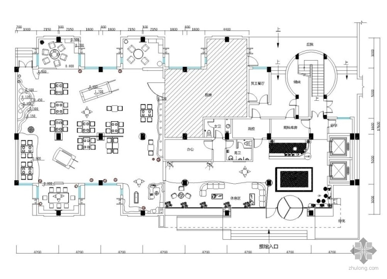 某便捷酒店大堂及自助餐厅设计图(含效果图)
