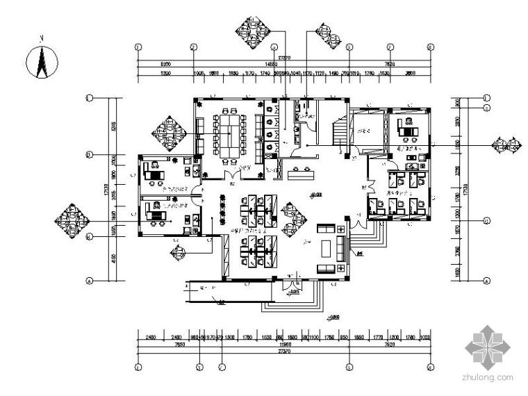 [佛山]某土地开发总公司办公场所室内装修图(含效果)