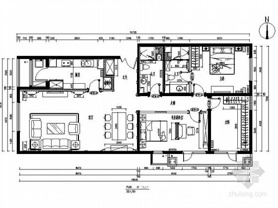简欧温馨花园三居室室内装修设计施工图(含效果)