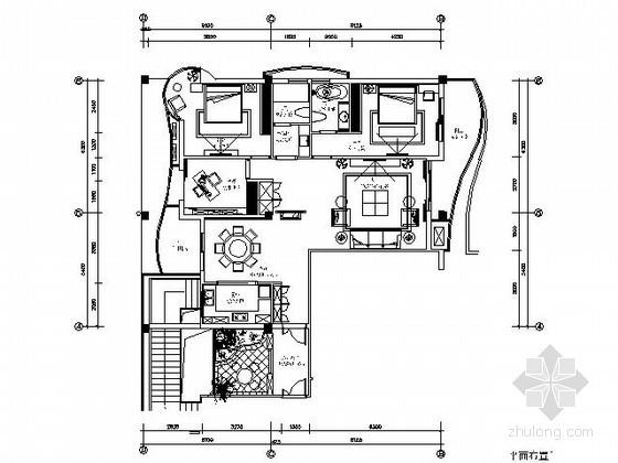 [郑州]三室两厅样板房E2户型施工图