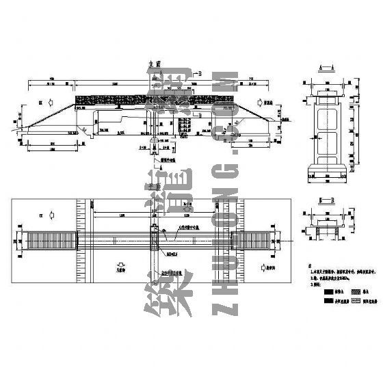 天桥排架方案资料下载-钢筋混凝土梁式人行天桥成套cad设计图纸