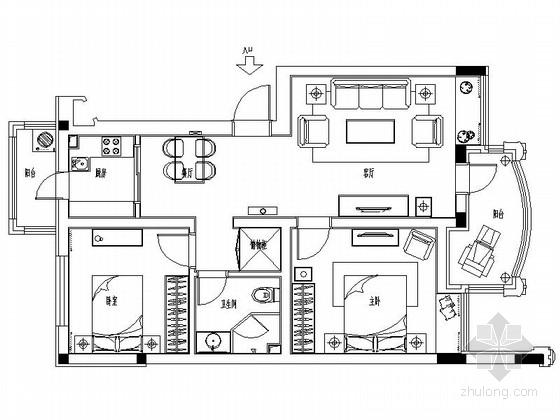 [哈尔滨]现代红色典雅两居室样板房室内装修图(含效果)