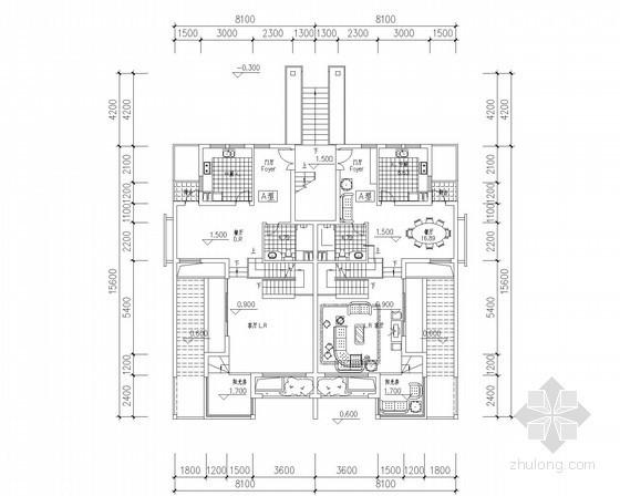 [北京]某五层叠拼别墅户型平面图(170、190平方米)