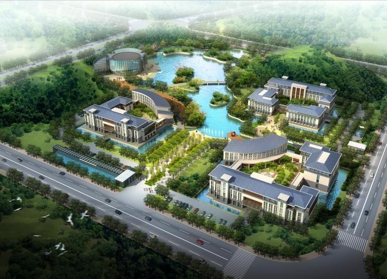 [湖南]新中式风格企业办公楼总部基地规划及建筑设计方案文本