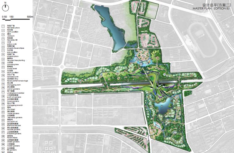 [湖北]武汉园博会景观规划设计方案文本-[湖北]武汉园博会景观规划设计文本 B-1 方案二平面图