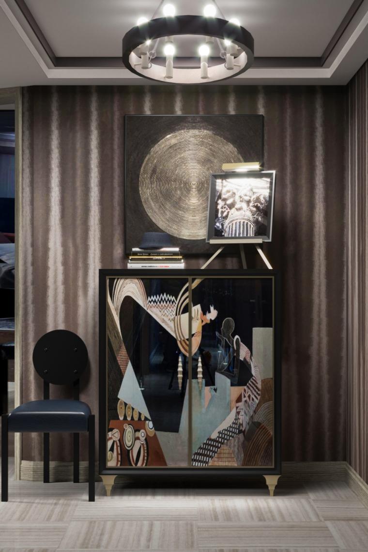 现代抽象艺术橱柜家具摆设设计3D模型(附效果图)