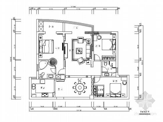 [浙江]欧式三居室室内装修图
